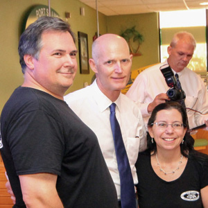 Gov. Rick Scott and Greg & Debbie Beutel Owner - Tin Fish Port St. Lucie